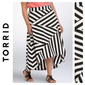 Torrid Hi Low B&W Stripe Maxi Skirt